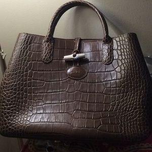 Longchamp embossed crocodile leather tote bag